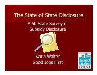 The State of State Disclosure - Good Jobs First