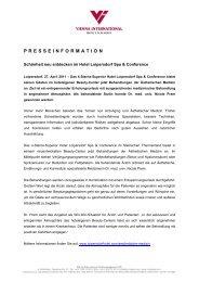 PRESSEINFORMATION - Vienna International Hotels & Resorts