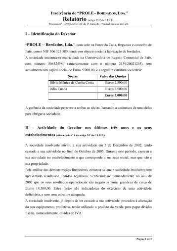 I – Identificação do Devedor - Nuno Oliveira da Silva