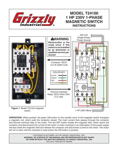 model t24100 1 hp 230v 1-phase magnetic switch - Grizzly.com on three-phase motor winding diagram, three phase motor connection diagram, 3 phase motor starter diagram, single phase electric motor diagram, single phase induction motor diagram, reversible motor diagram, single phase motor contactor diagram, three-phase motor control diagram, 3 phase motor circuit diagram, three-phase motor ladder diagram, 230 single phase motor diagram, 1 phase motor fuse, 1 phase motor capacitor,