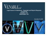 Legal Issues in Publishing – Copyright and Reprint ... - Venable LLP