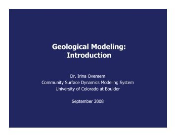 Geological Modeling: Introduction - CSDMS