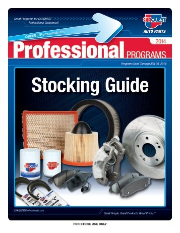 CARQUEST Professional Programs Top 25 Stocking Numbers