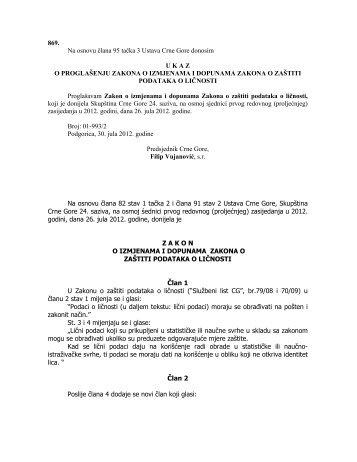 Zakon o izmjenama i dopunama Zakona o zaštiti podataka o ličnosti