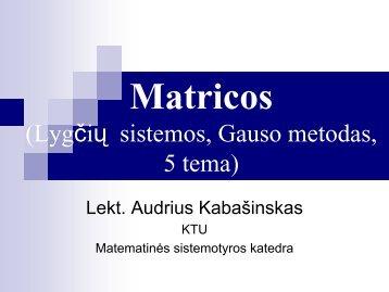 Matricos (pirma paskaita)