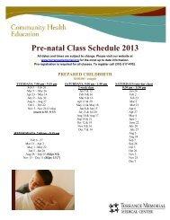 Pre-natal Class Schedule 2013