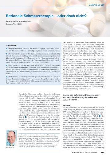 Rationale Schmerztherapie – oder doch nicht? - Swiss Medical Forum