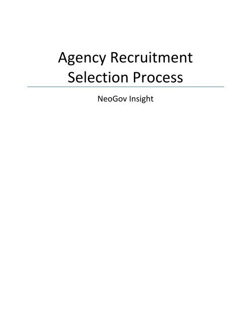 NeoGov Insight – Agency Recruitment and Selection Process