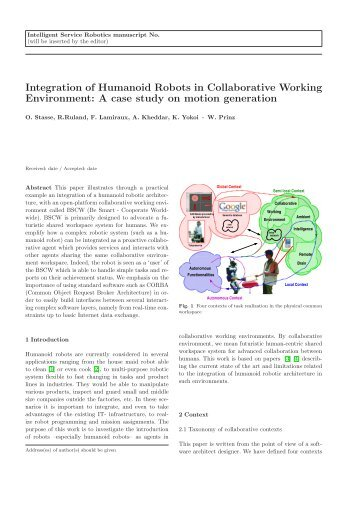 Integration of Humanoid Robots in Collaborative Working ...