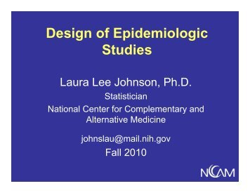 Design of Epidemiologic Design of Epidemiologic Studies