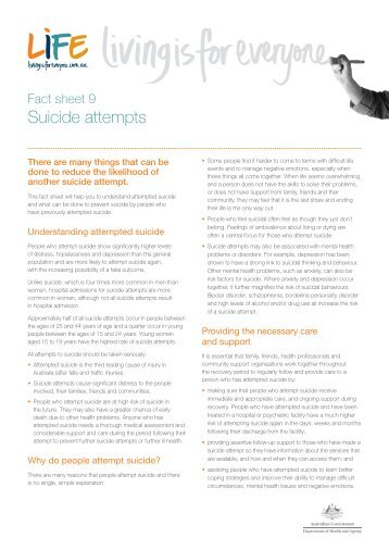 Fact sheet 9: Suicide attempts (413.85KB) - Living is for Everyone