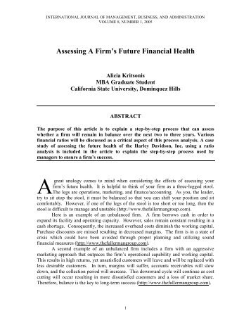 Assessing A Firm's Future Financial Health - National Forum Journals