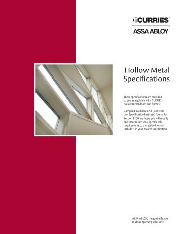 Hollow Metal Specifications - Curries