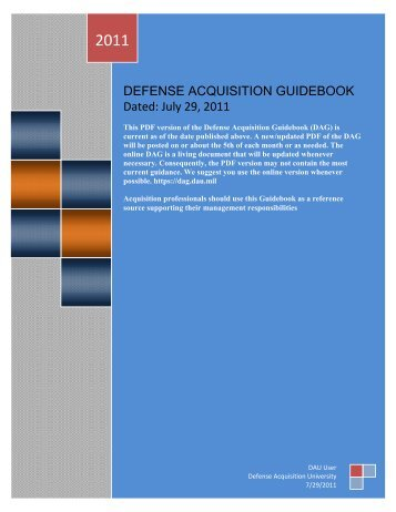 DEFENSE ACQUISITION GUIDEBOOK - AcqNotes.com