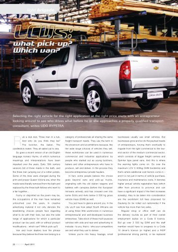 LCVs: what pick-up? Which van? - Focus on Transport & Logistics
