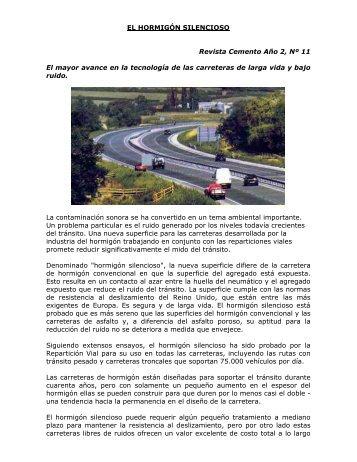 EL HORMIGÓN SILENCIOSO Revista Cemento Año 2, Nº 11 ... - ICPA