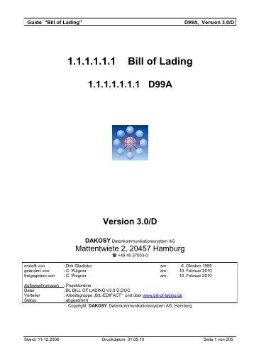 BL Bill of Lading V3.0 d - DAKOSY Datenkommunikationssystem AG