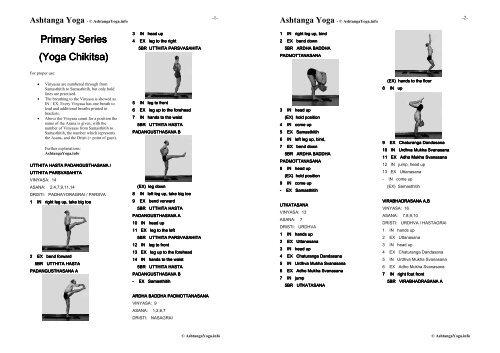 Primary Series Yoga Chikitsa Yoga Chikitsa Ashtanga Yoga