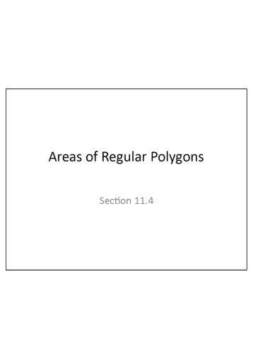 10.2 & 10.3 Areas of Kites, Rhombuses and Regular Polygons