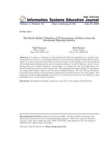 The Stock Market Valuation of IT Innovations: Evidence from the ...