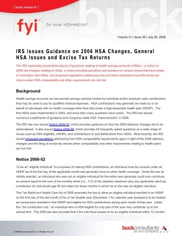 IRS Issues Guidance on 2006 HSA Changes, General HSA Issues ...