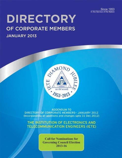 Addendum To Directory Of Corporate Members Iete