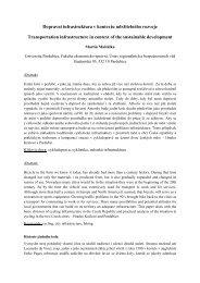 Dopravní infrastruktura v kontextu udržitelného ... - Regionální rozvoj
