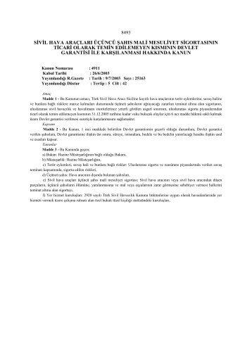 sivil hava araçları üçüncü şahıs mali mesuliyet sigortasının ticari ...