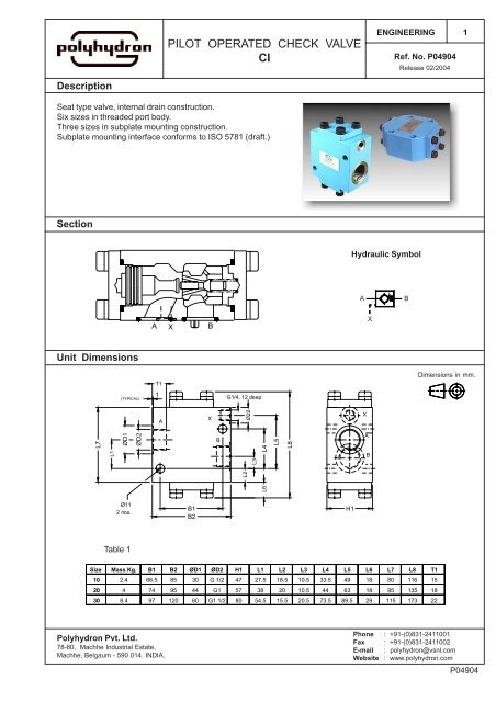 Pilot Operated Check Valve Ci Polyhydron Group Of Industries