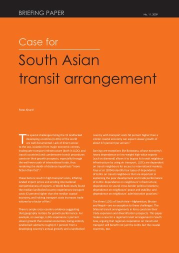 South Asian transit arrangement - South Asia Watch on Trade ...