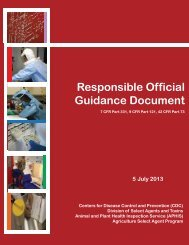 Responsible Official Guidance Document - Select Agent Program