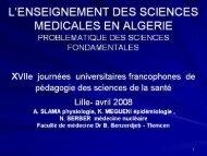 l'enseignement des sciences medicales en algerie - Université Lille ...