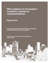 Offre publique en francisation - Secrétariat à la politique linguistique ...