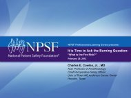 Download the PDF - National Patient Safety Foundation