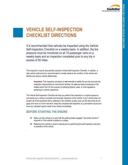 Exterior check the - Vehicle exterior inspection checklist ...