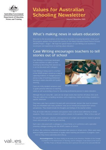 Values for Australian Schooling Newsletter Vol.2 - Values Education