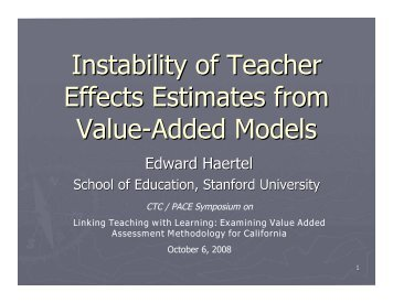 Instability of Teacher Effects Estimates from Value-Added Models
