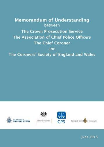 Memorandum of Understanding (MoU) - Crown Prosecution Service