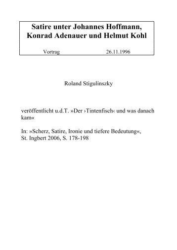 Satire unter Johannes Hoffmann, Konrad Adenauer und Helmut Kohl