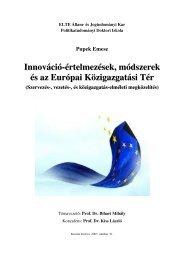 Innováció-értelmezések, módszerek és az Európai Közigazgatási Tér