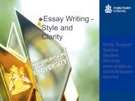 Essay writing - Style and clarity - presentation - My.Anglia Homepage
