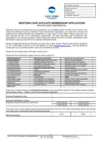 western cape affiliate membership application - Cape Town Tourism