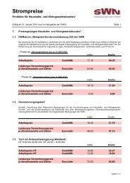Preisblatt Haushalts- und Kleingewerbekunden gültig ab 01.01.2010