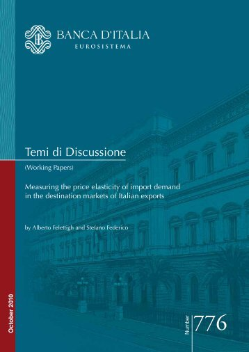 Measuring the price elasticity of import demand - Banca d'Italia