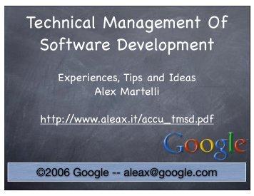 Technical Management Of Software Development - Alex Martelli