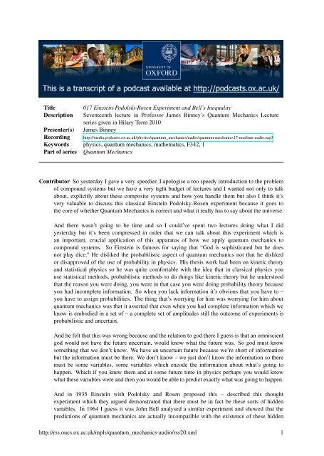 017 Einstein-Podolski-Rosen Experiment and Bell's Inequality
