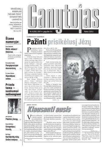 Nr. 9 (250) 2007 m. gegužės 5 d. - Krikščionių bendrija TIKĖJIMO ...