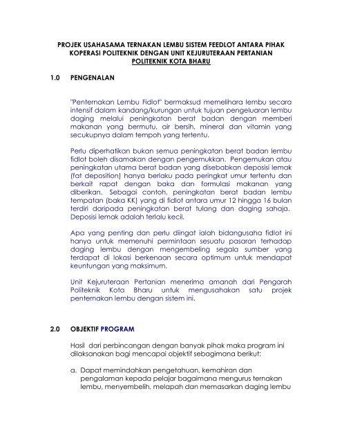 feedlot - Politeknik Kota Bharu