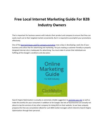 Free Local Internet Marketing Guide For B2B Industry Owners