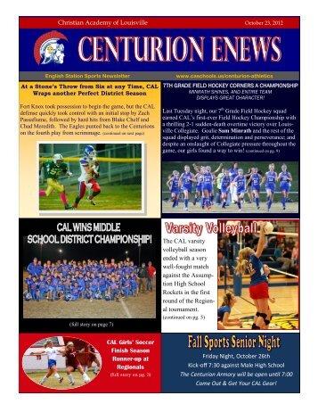 eNews 10/23/2012 - Christian Academy School System